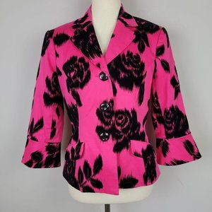 Trina Turk Hot Pink Black Roses Blazer Size 8